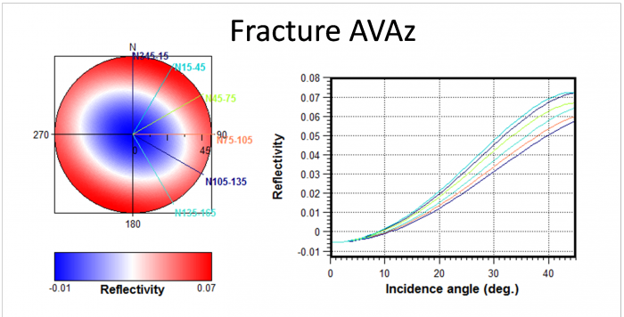 Fracture AVAz sensitivity study: on the left, a map of reflectivity (or anisotropic velocities) with the different fracture groups, and on the right, a set of computed AVA curves (Amplitude Versus Angle).
